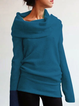 Casual Cowl Neck Knitted Long Sleeve Solid Sweater