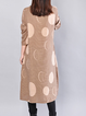 Women Daily Cotton Long Sleeve Pockets Geometric Casual Dress