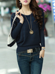 Batwing Crew Neck Solid Knitted Sweater