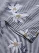 Women Cotton Floral Print Stripe O-neck Blouse