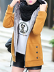Yellow Spandex H-line Buttoned Casual  Hoodie Coat