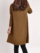 V neck  Shift Women Daily Cotton Long Sleeve Casual Dress
