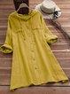 Hoodie Women Casual Dresses Shift Cotton-Blend Pockets Dresses