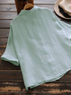 Women Summer Causal Linen Tops Solid Color Shirt Collar Cute Blouses