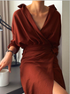 V neck  Women Daily Long Sleeve Linen Casual Solid Spring Dress