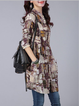 Print Stand Collar Casual Abstract Blouse