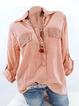 Cotton Elegant Long Sleeve Stand Collar Pockets Shirts  Blouse