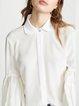 Solid Gathered Shirt Collar Balloon Sleeve Elegant Shirts