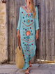 Long Sleeve Boho Sweet Floral Vacation Maxi Dresses