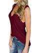 Sleeveless V Neck Casual Buttoned Tanks