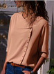 Casual Solid Half Sleeve Buttoned Shawl Collar Blouse
