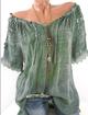 Off Shoulder Short Sleeve Casual Paneled Plus Size Crochet-trimmed Linen Blouse