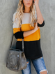 Yellow Casual Patchwork Round Neck Sweaters