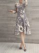 Plus Size Women Elegant A-line Printed Floral Gray Party Dress