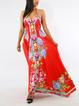 Women Strapped Boho Floral-Print Vintage Vacation Dresses
