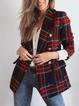 S-2XL INS Lapel Buttoned Pockets Gingham Elegant Coats Blazers