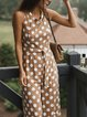 Polka Dots Round Neck Casual Jumpsuits