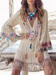 V Neck Women Summer Dresses Shift Daily Color-Block Dresses