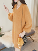 V neck  Shift Women Daily Balloon Sleeve Casual Knitted Plain Casual Dress
