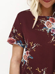 Cotton Crew Neck Floral-print Short Sleeve T Shirt