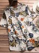 Women Causal Floral Casual Short Sleeve Cotton&Linen Tops
