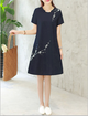 Stand Collar  Women Daily Short Sleeve Cotton Floral-print  Elegant Dress