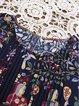 Casual Crew Neck Tops Folk Style Print  Women Blouses