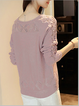 Eyelet Knitted Crew Neck Casual Long Sleeve Sweater