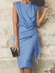 Sheath Daily Draped Cutout Sleeveless Midi Dress