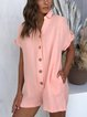 Solid Short Sleeve Casual Shawl Collar Rompers