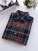 Women Causal Checker Long Sleeve Shirt Blouse