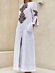 V neck  Shift Women Daily 3/4 Sleeve Casual Slit Tribal Spring Dress