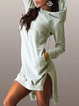 Hoodie  Shift Women Daily Cotton-blend Casual Solid Spring Dress