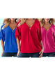 Half Sleeve Zipper Solid V neck High Low Blouse