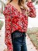 7 Styles Flower Plaid V Neck Elegant Ruffled Blouses