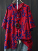 Plus Size Printed Floral  Casual Blouses