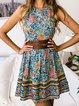 Crew Neck Women Summer Dresses A-Line Daily Cotton-Blend Floral-Print Dresses