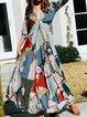 V Neck Women Summer Dresses A-Line Beach Chiffon Floral Dresses