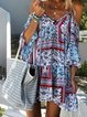 Off Shoulder Multicolor Women Summer Dresses Shift Color-Block Dresses