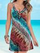 V Neck Blue Women Summer Dresses Daily Geometric Dresses