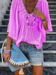 Solid V Neck Batwing Casual T-Shirt