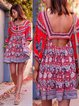 Red Balloon Sleeve Floral Cotton-Blend V Neck Casual Dresses
