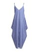 V Neck Blue Women Summer Dresses Cocoon Striped Dresses