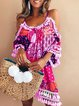 Off Shoulder Women Summer Dresses Shift Daily Cotton-Blend Patchwork Dresses