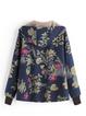 Patchwork Leaves Print Hooded Long Sleeve Vintage Teddy Bear Coat