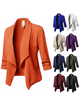 Elegant Solid Paneled Shawl Collar Winter Cony Hair Plus Size Blazer