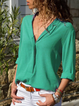 V Neck Solid Plain Long Sleeve Blouses