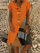 Casual V Neck Stripes Paneled Dresses