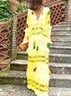 Color-Block Floral Holiday Maxi Dress