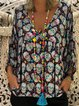 Elegant Printed/Dyed V neck Floral Plus Size Blouse